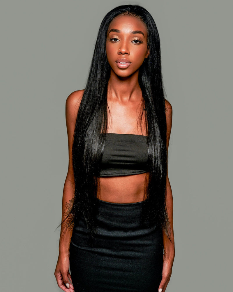 'Soeurs' Human Hair Wig | Long Black Full Lace Wig | Essence Luxe Couture Wigs