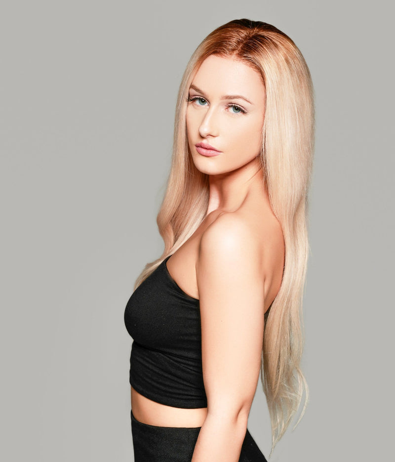 'Trophy Wife' Human Hair Wig | Pale Blonde Luxury Wig with Brown Roots | Essence Luxe Couture Wigs