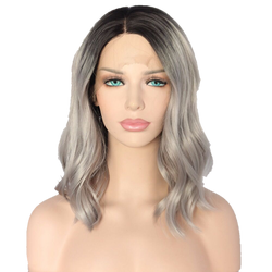 Buy 'ASARE' -- Short Synthetic Grey Ombre Wig | Essence Luxe Couture (Front)