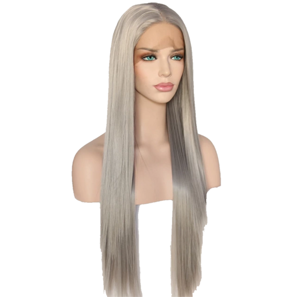 Buy BOUE Silver Synthetic Wig | Luxury Wigs - Essence Luxe Couture (Side)