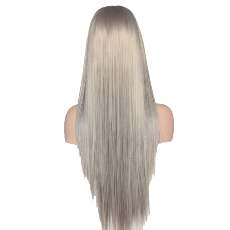 Buy BOUE Silver Synthetic Wig | Luxury Wigs - Essence Luxe Couture (Back)