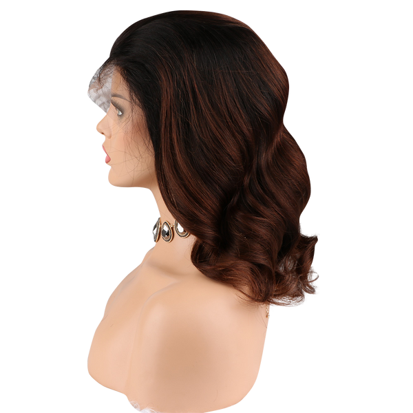 Buy Balayage THOM | Luxury Short Brown Ombre Wig | Essence Luxe Couture (Side)