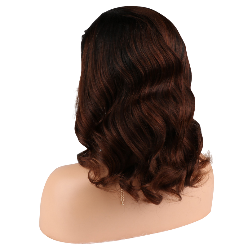 Buy Balayage THOM | Luxury Short Brown Ombre Wig | Essence Luxe Couture (Back Side)