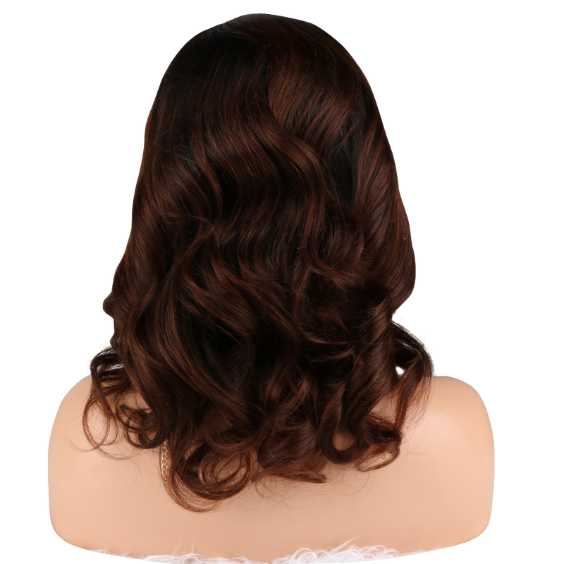 Buy Balayage THOM | Luxury Short Brown Ombre Wig | Essence Luxe Couture (Back)