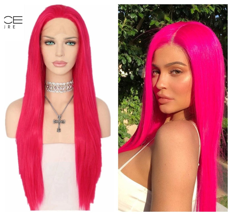 Luxury KYLIE Jenner Replica Magenta Synthetic Pink Lace Front Wig