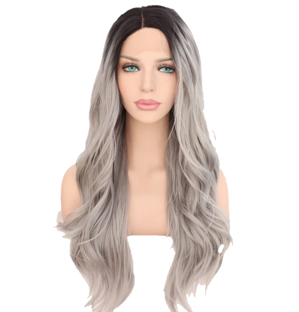Buy EXTÈ Long Synthetic Grey Ombre Wig | Luxury Wig - Essence Couture