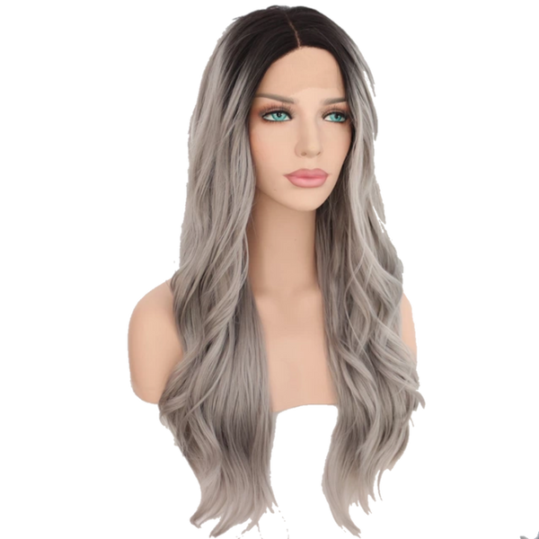 Buy Luxury EXTÈ | Synthetic Grey Ombre Lace Front Wig | Essence Luxe Couture