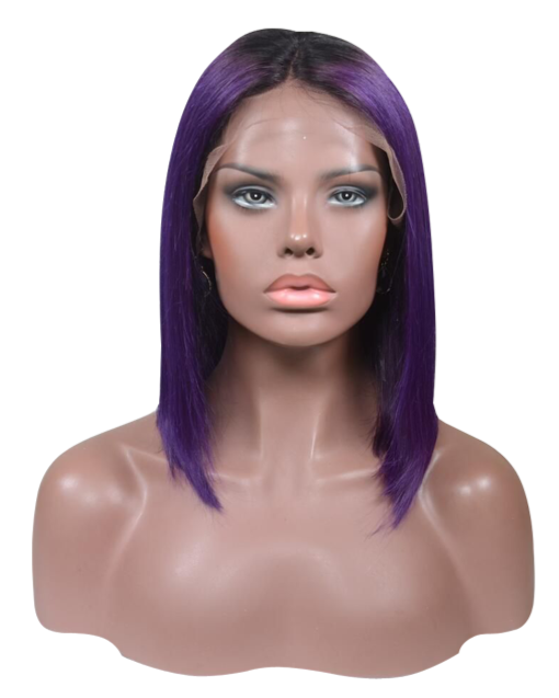 Buy Pantone VENETA | Rooted Short Purple Bob Wig | Essence Couture (Front)