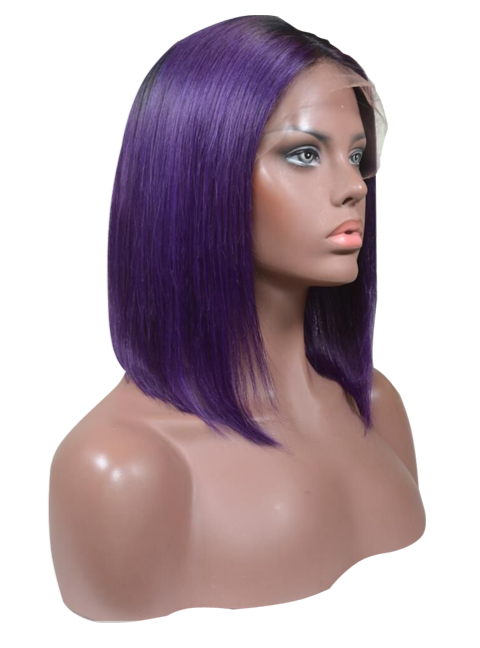 Buy Pantone VENETA | Rooted Short Purple Bob Wig | Essence Couture (Side)