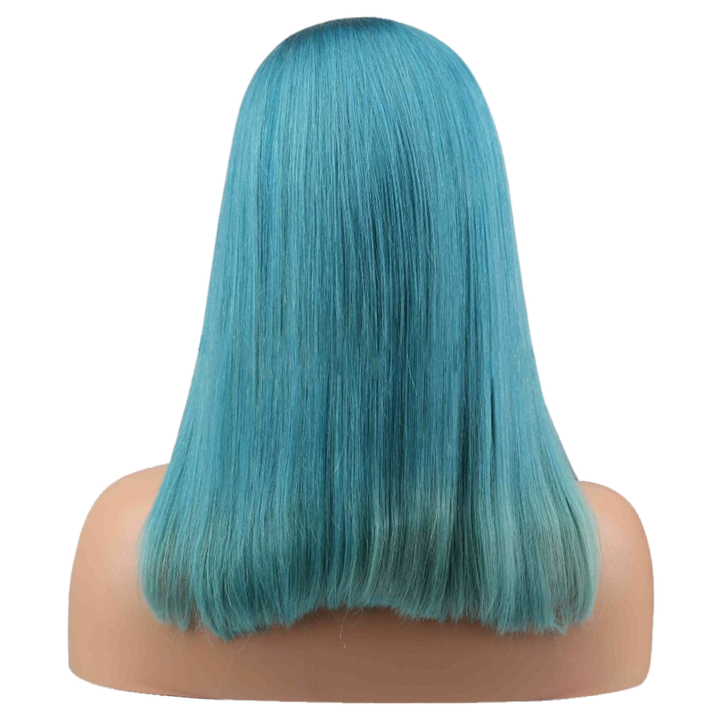 Buy Teal GOTTEX | Handmade Teal Wig with Silk Top | Essence Couture -Back