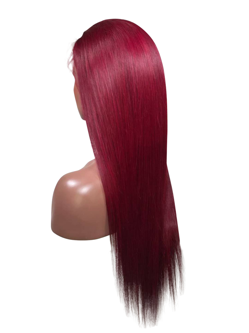 Buy Wine Leon | Deep Wine Red Handmade Lace Wig | Essence Luxe Couture