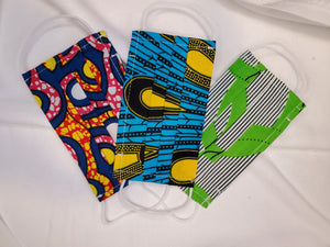 KIDS African Print Fabric Face Masks- Random Color Selection