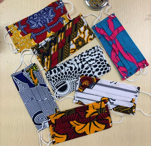 Adult African Print Fabric Face Masks- Random Color Selection
