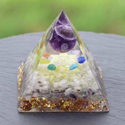 7 Chakra Orgonite Energy Pyramid / EMF Protection - One Lucky Wish