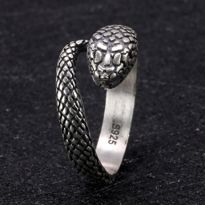 Sterling Silver Snake Ring for Men - One Lucky Wish