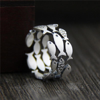 Sterling Silver Swimming Fish Ring - One Lucky Wish