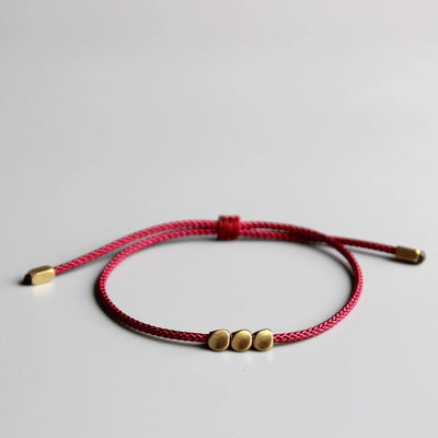 Tibetan Lucky Rope Bracelet with Copper Beads - One Lucky Wish