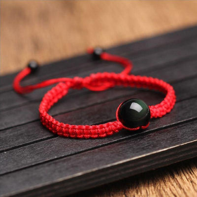 Feng Shui Obsidian Stone Red String Bracelet - One Lucky Wish