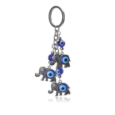 Evil Eye Protection / Lucky Elephant Key Chain - One Lucky Wish