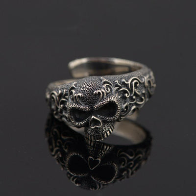 Sterling Silver Gothic Skull Ring for Men - One Lucky Wish