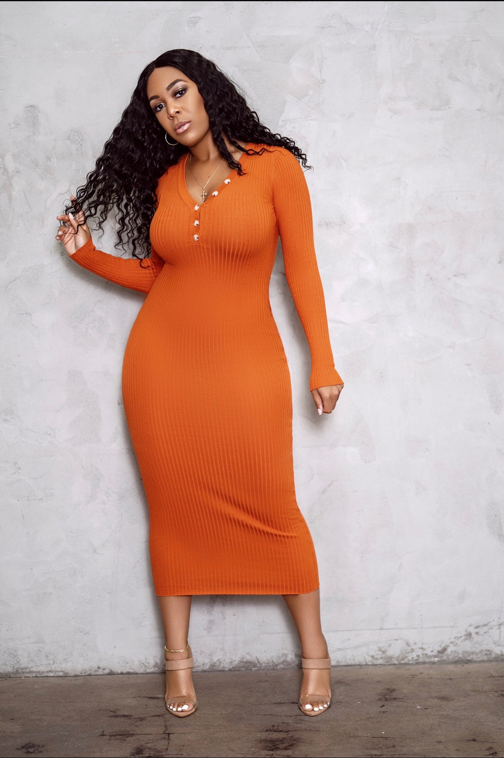 The Norm Sweater Dress- Burnt Orange