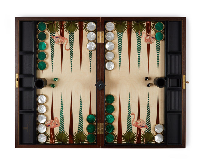 Surf Club Flamingo Backgammon Set