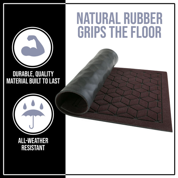 "NINAMAR Rubber Door Mat (29.5"" x 17.5"") - Durable Non-Slip Indoor/Outdoor Entry Rug Made from 100% Natural Rubber - Traps Liquid & Debris - Keep Home Entrance Clean"