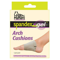 FootMatters Arch Support Cushions - Comfort Spandex Gel Pads - 1 Pair - Foot Matters