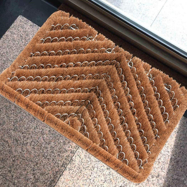 Ninamar Natural Coir Herringbone Door Mat - 24 x 16 inch - Foot Matters