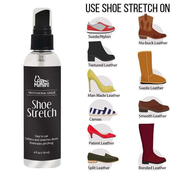 FootMatters Professional Boot & Shoe Stretch Spray – Softener & Stretcher for Leather, Suede, Nubuck, Canvas – 4 oz - Foot Matters