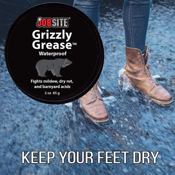 JobSite Grizzly Grease Waterproofing Leather Protector Paste-Prevents Mildew, Dry Rot, Salt Stains & Scuff Marks-3 oz. - Foot Matters