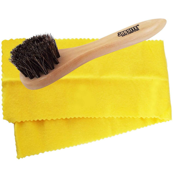 JobSite Genuine Horsehair Dauber Applicator Brush & Shoe Shine Polish Cloth - Great for Travel & Home - Foot Matters