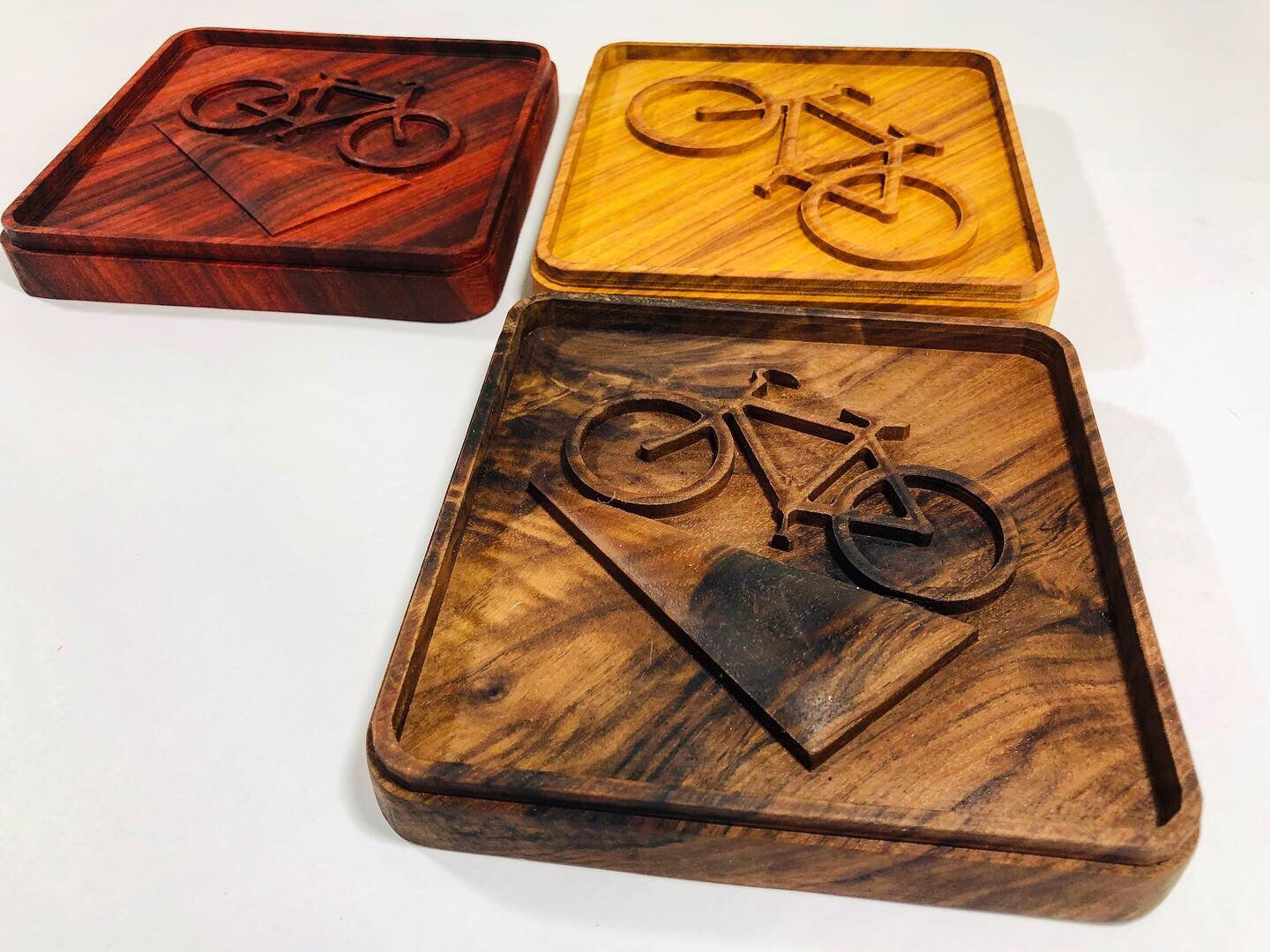 "Cycling Wall Art ""Traffic Sign"" in Canary Wood"