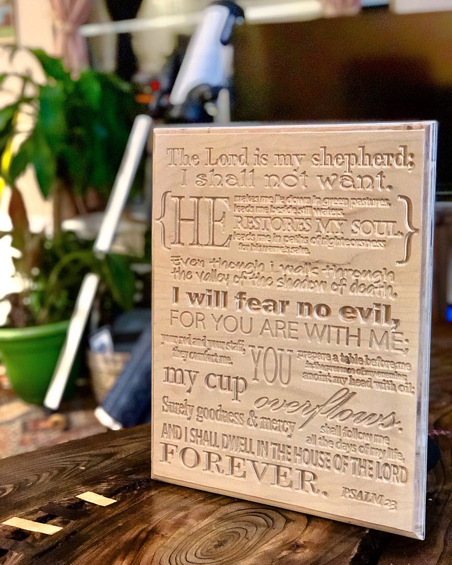 """Psalm 23"" Plaque on Baltic Birch or Your Favorite Bible Quote"