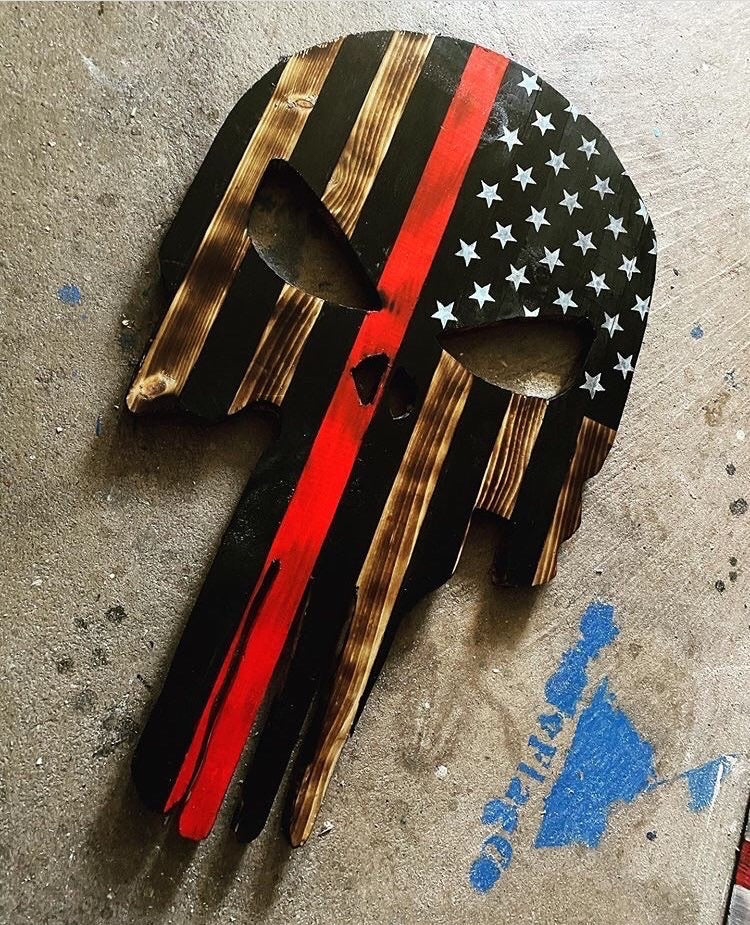 American Flag Skull with blue epoxy inlay