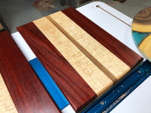 African Paduak, Curly Maple and Walnut Cutting Board