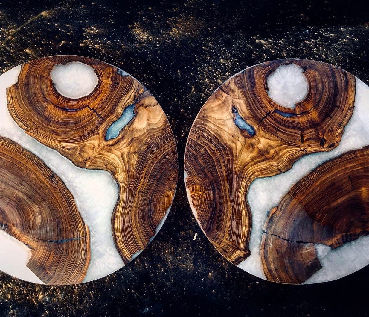 Custom Lazy Susan with Tree Ring Bearing Base