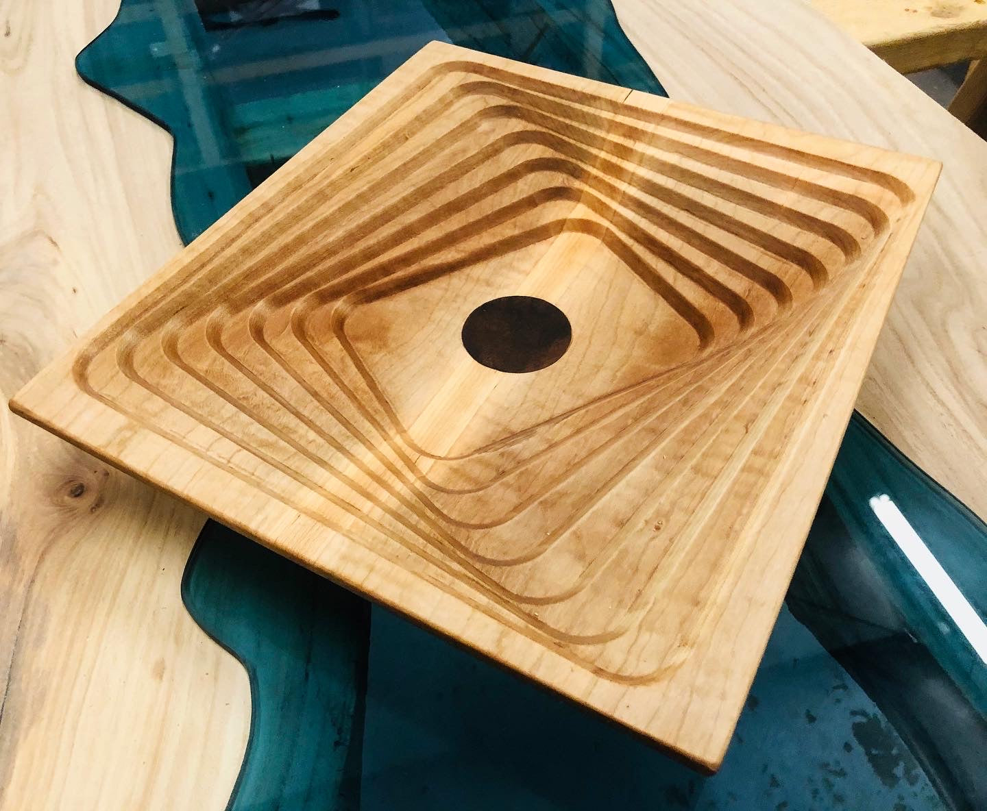 """Tessellation"" Maple Bowl with Walnut Inlay"