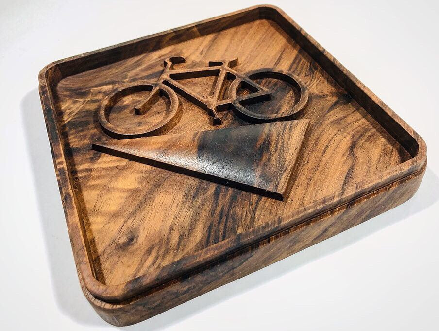 "Cycling Art - ""Downhill"" in Rustic Walnut"