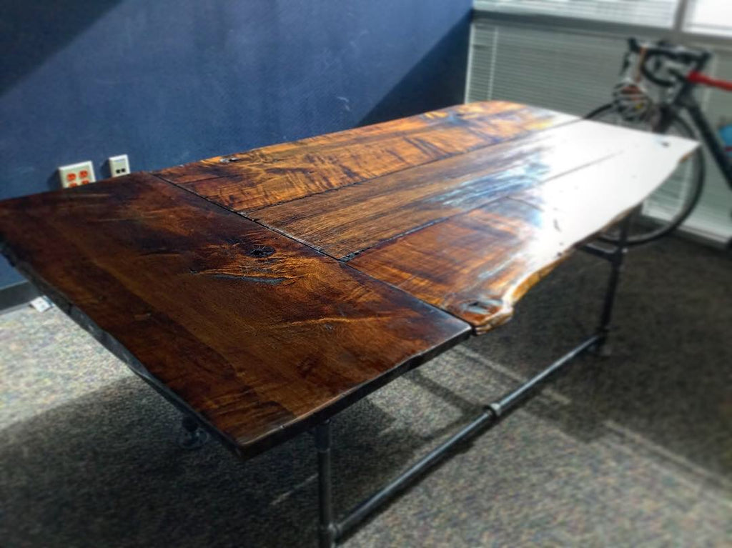 Live Edge Slab Wood and Steel Office Desk