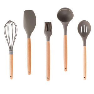 Set of 5 Wooden Mixing Set with Silicone Handle