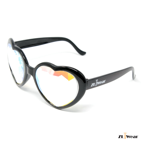 ZLiWear Black Heart Shape  Kaleidoscope Glasses - Rainbow Flat Back- Lightweight