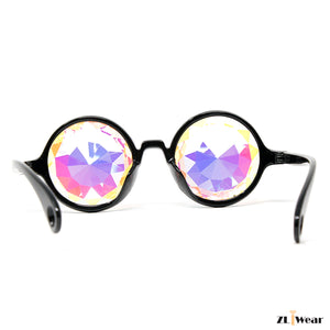 ZLiWear Black Kaleidoscope Glasses -  Flat Back Big Diamond Cut Rainbow - ZLiWear