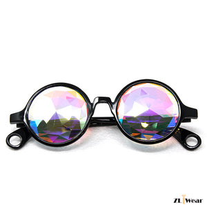 ZLiWear Black Kaleidoscope Glasses -  Flat Back Big Diamond Cut Rainbow