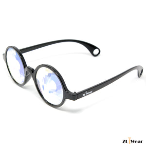 ZLiWear Black Kaleidoscope Glasses -  Flat Back Wormhole Rainbow