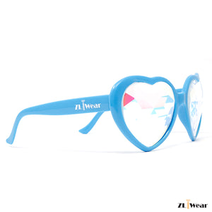 ZLiWear Blue Heart Shape  Kaleidoscope Glasses - Flat Back-Lightweight - ZLiWear