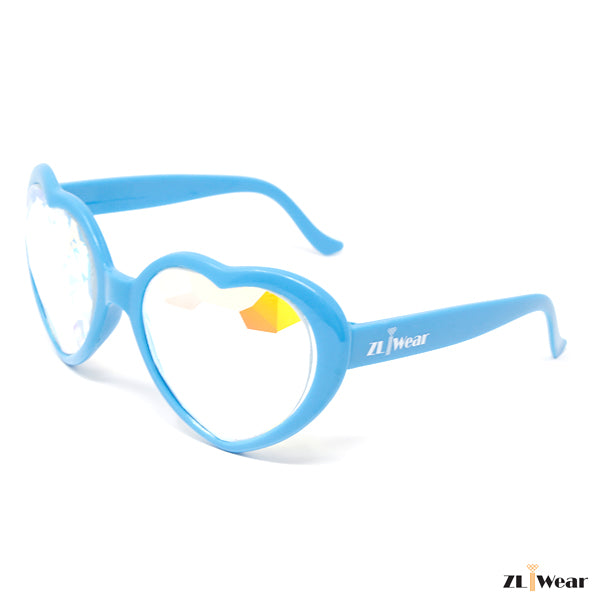 ZLiWear Blue Heart Shape  Kaleidoscope Glasses - Flat Back-Lightweight