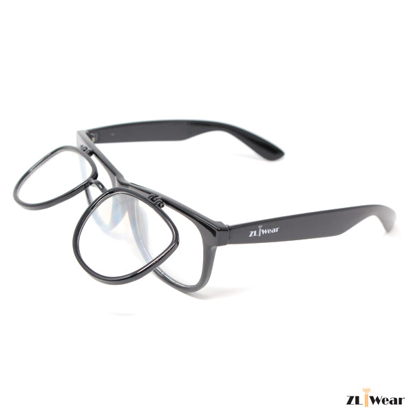 ZLiWear DOUBLE EFFECT Ultimate Diffraction Glasses - Flip-Up Black
