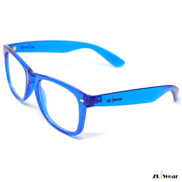 ZLiWear Spiral Effect Diffraction Glasses -  Transparent Blue