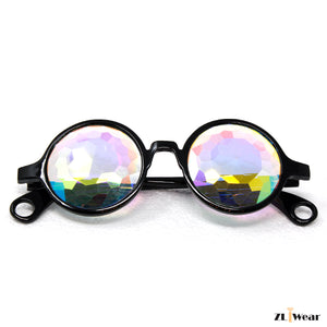 ZLiWear Black Kaleidoscope Glasses- Fractural Rainbow Crystals